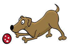 Cartoon dog playing with a ball Royalty Free Stock Image