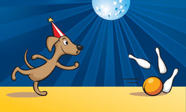 Cartoon dog playing bowling Stock Images