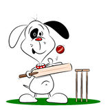 A cartoon dog playing cricket Stock Images