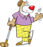Cartoon dog playing golf Stock Image