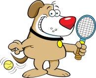 Cartoon dog playing tennis. Royalty Free Stock Photo