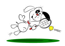A Cartoon Dog Playing Tennis Stock Photo
