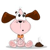 Cartoon dog and poo. Cartoon dog sitting next to a pile of dog dirt Royalty Free Stock Image