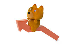 A cartoon dog on red arrow, 3D illustration. A cartoon dog on red arrow  3D illustration Stock Photography