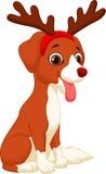 Cartoon Dog in reindeer costume. Illustration of Cartoon Dog in reindeer costume Royalty Free Stock Photography