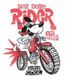 Cartoon dog riding a motorcycle vector T-Shirt design royalty free illustration