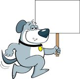 Cartoon dog running and holding a sign. Royalty Free Stock Photo