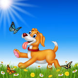 Cartoon dog running with nature background. Illustration of Cartoon dog running with nature background vector illustration