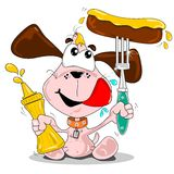 A cartoon dog with sausage. & bottle of mustard Royalty Free Stock Photo