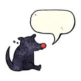 cartoon dog scratching with speech bubble Stock Images
