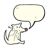 Cartoon dog scratching with speech bubble Royalty Free Stock Photos