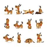 Cartoon dog set. Dogs tricks and action digging dirt eating pet food jumping sleeping running and barking vector