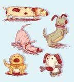 Cartoon dog set, Vector illustration Stock Image