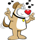Cartoon dog singing Stock Images