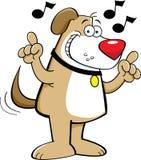 Cartoon dog singing royalty free illustration