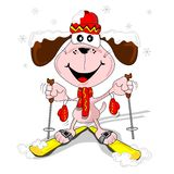 A cartoon dog with skis Royalty Free Stock Image