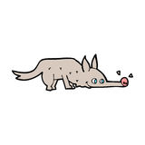 Cartoon dog sniffing floor Royalty Free Stock Images