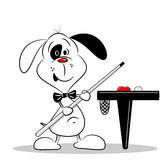 A cartoon dog with a snooker cue Royalty Free Stock Images
