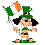 A cartoon dog on St Patricks day Stock Image