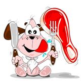 A cartoon dog with a steak Royalty Free Stock Images