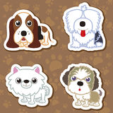 Cartoon dog sticker set. Royalty Free Stock Photos