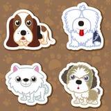 Cartoon dog sticker set. Royalty Free Stock Photos