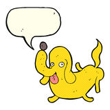 Cartoon dog sticking out tongue with speech bubble Royalty Free Stock Photo