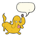 Cartoon dog sticking out tongue with speech bubble Royalty Free Stock Images