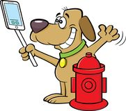 Cartoon dog taking a selfie with a fire hydrant. Royalty Free Stock Image