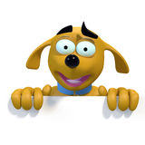 Cartoon dog on top edge of blank sign. 3D rendering of a cute cartoon dog smiling over a blank sign Royalty Free Stock Image