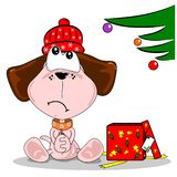 Cartoon dog with unwanted gift. Cartoon dog disappointed with woolly hat Christmas gift Stock Image