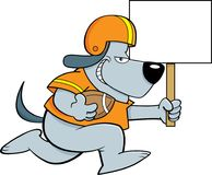 Cartoon dog wearing a football uniform while running with a sign. Stock Image