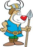 Cartoon dog wearing a Viking costume and holding a spear. Stock Photos