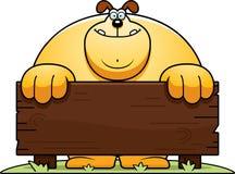 Cartoon Dog Wood Sign Stock Photo