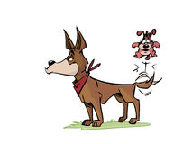 Cartoon dogs. A pair of cartoon dogs, one big and one small Royalty Free Stock Images