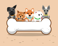 Cartoon dogs and big bone Royalty Free Stock Photos