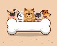 Cartoon dogs with big bone sign Stock Photos