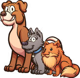 Cartoon dogs. Big, medium and small size cartoon dogs sitting.  Vector clip art illustration with simple gradients. Each on a separate layer Royalty Free Stock Images