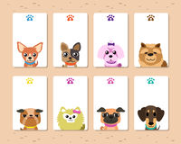 Cartoon dogs card template set Royalty Free Stock Images