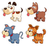Cartoon dogs and cats Stock Images