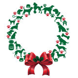 Cartoon dogs and cats Christmas wreath Royalty Free Stock Photo