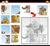 Cartoon dogs and cats jigsaw puzzle game. Cartoon Illustration of Education Jigsaw Puzzle Game for Preschool Children with Funny Cats and Dogs Group Animals Stock Photos