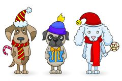 Cartoon dogs with Christmas attributes, painted figures on white background, isolate. Set of cartoon dogs with Christmas attributes, painted figures on white Royalty Free Stock Photography