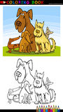 Cartoon Dogs for Coloring Book or Page. Coloring Book or Page Cartoon Illustration of Five Funny Dogs for Children Royalty Free Stock Photography
