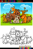 Cartoon Dogs for Coloring Book or Page. Coloring Book or Page Cartoon Illustration of Funny Dogs Group against Blue Sky for Children Royalty Free Stock Image
