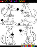 Cartoon Dogs for Coloring Book or Page. Coloring Book or Page Cartoon Illustration of Funny Dogs doing Tricks for Children Stock Photo