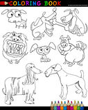 Cartoon Dogs for Coloring Book or Page. Coloring Book or Page Cartoon Illustration of Funny Dogs and Puppies for Children Stock Photography