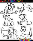 Cartoon Dogs for Coloring Book or Page. Coloring Book or Page Cartoon Illustration of Funny Dogs and Puppies for Children Royalty Free Stock Photos