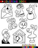 Cartoon Dogs for Coloring Book or Page. Coloring Book or Page Cartoon Illustration of Funny Dogs and Puppies for Children Stock Photos