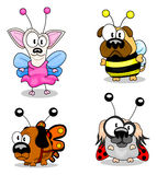 Cartoon dogs in costumes. Four cartoon dogs in fancy dresses with wings Royalty Free Stock Photo